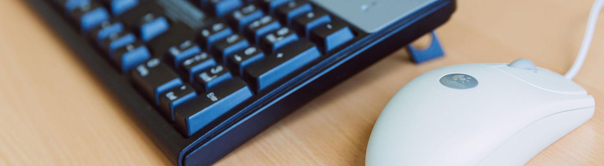 Das Bild zeigt eine Mouse und eine Tastatur in Nahaufnahme.