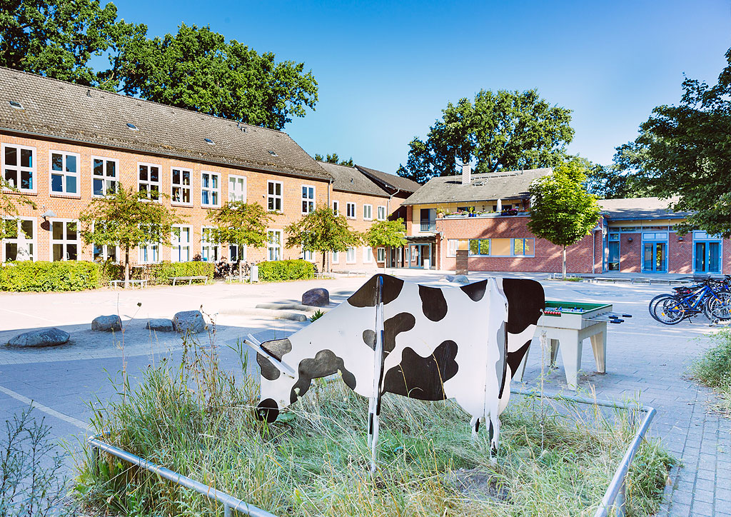 Das Bild zeigt die Holzkuh, das Maskottchen der Schule Lehmkuhle. Die Kuh befindet sich auf dem Schulhof und ist so groß wie eine echte Kuh.