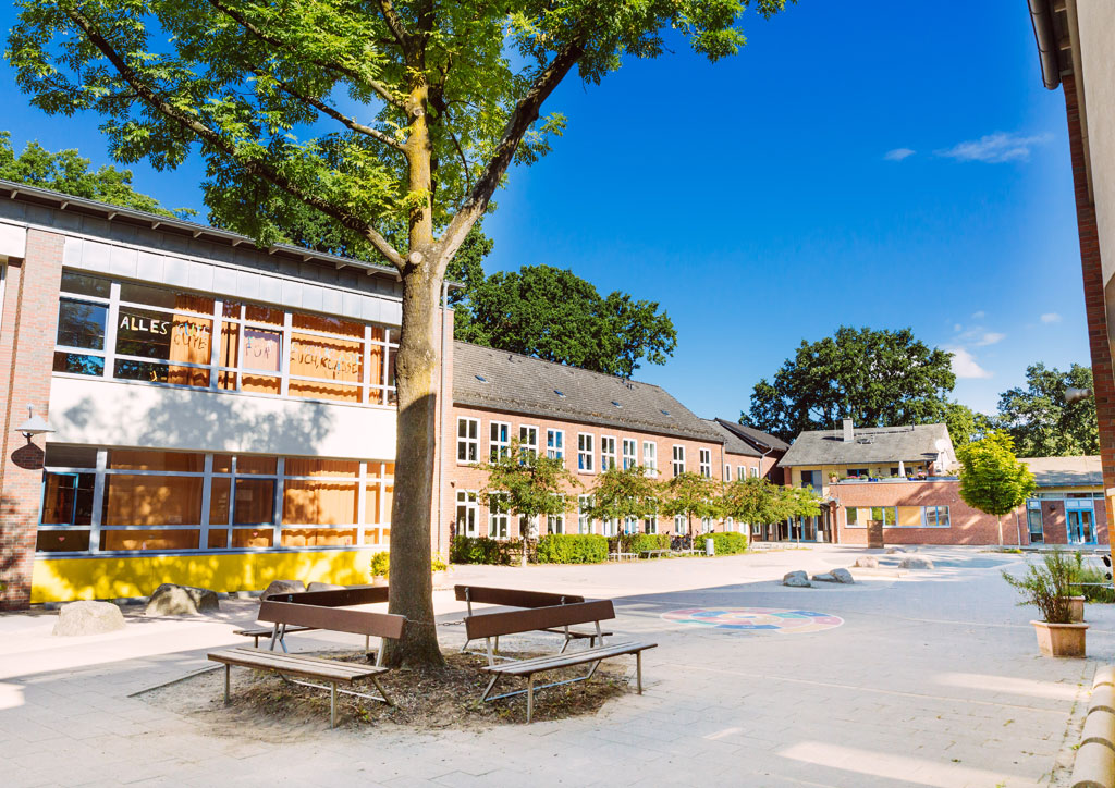 Das Bild zeigt den Schulhof der Schule Lehmkuhle. In der Mitte befindet sich ein großer Baum und drum herum sind 4 Holzbänke angeordnet auf denen man sich ausruhen kann.